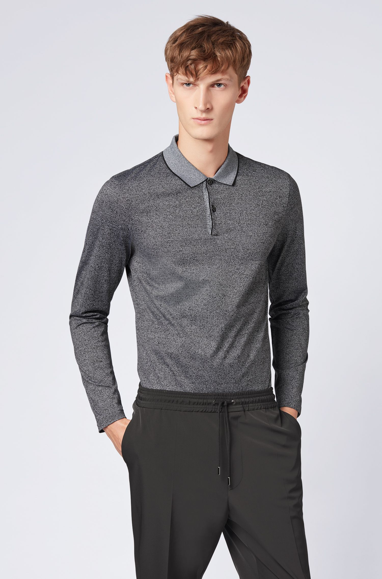 Polo Slim Fit en coton mouliné mercerisé, Noir