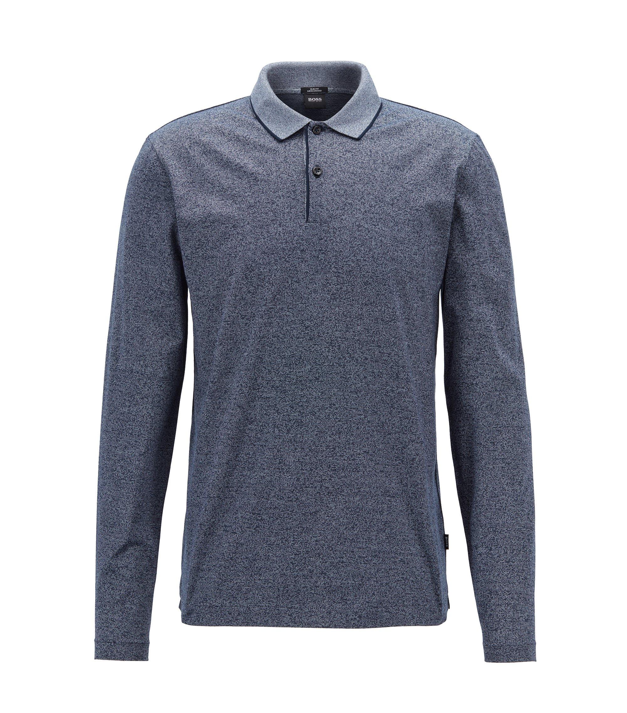 Polo Slim Fit en coton mouliné mercerisé, Bleu