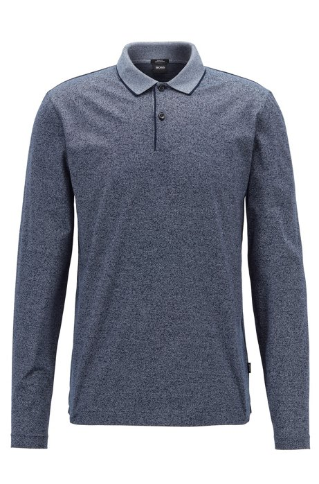 Polo Slim Fit en coton mouliné mercerisé, Bleu
