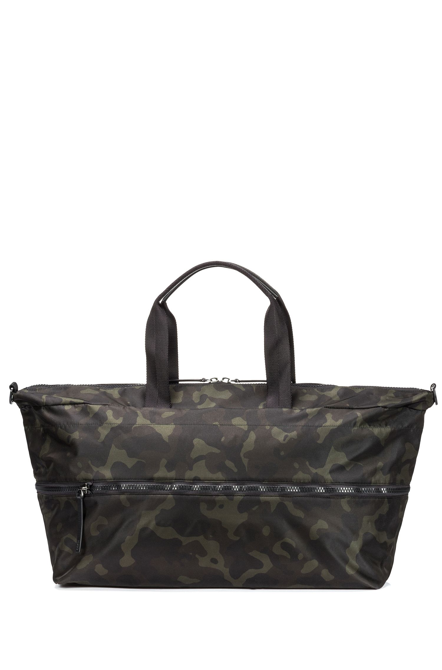 Expandable camouflage-print holdall in nylon gabardine, Patterned