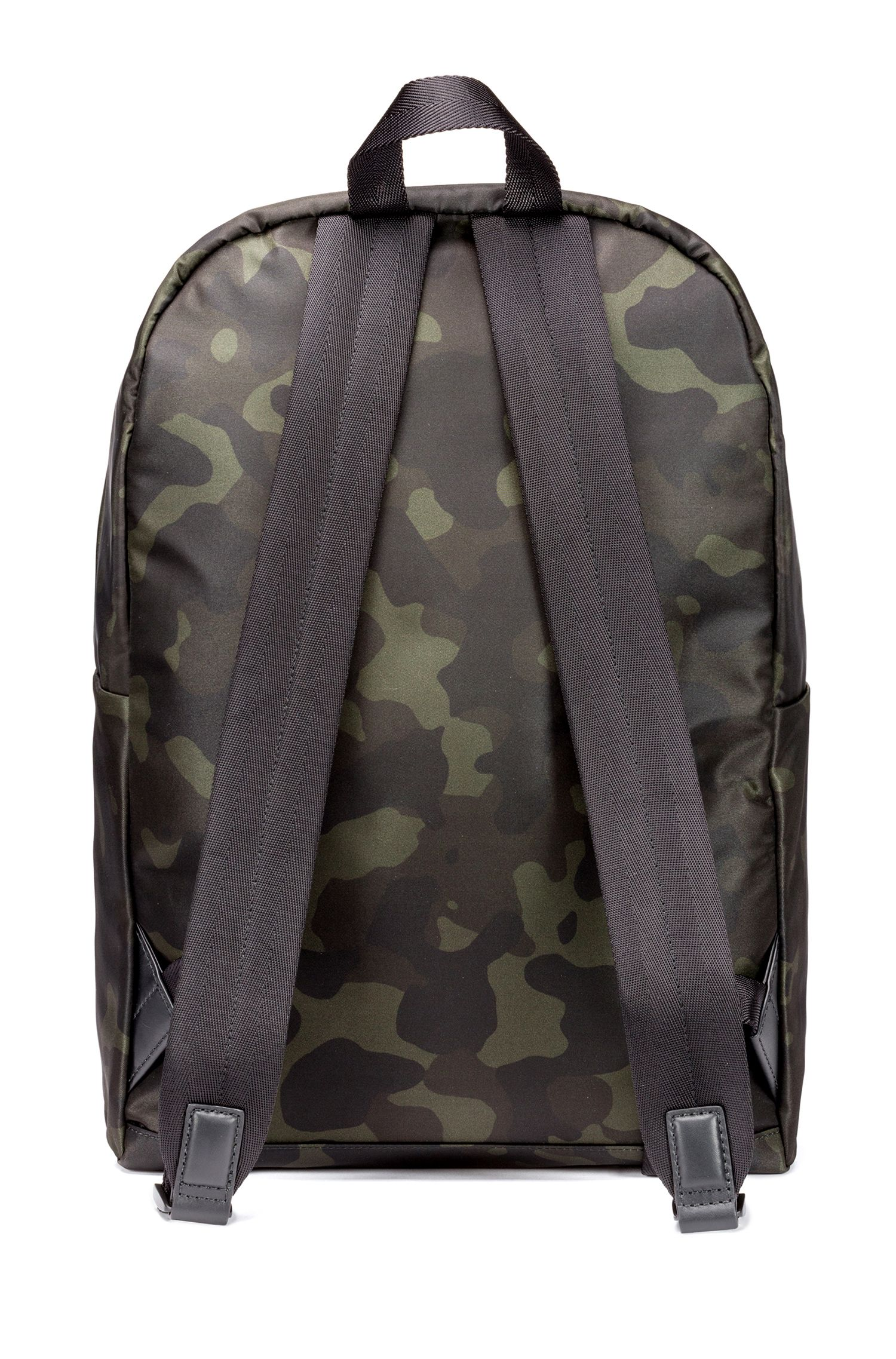 Camouflage-print backpack in nylon gabardine, Patterned