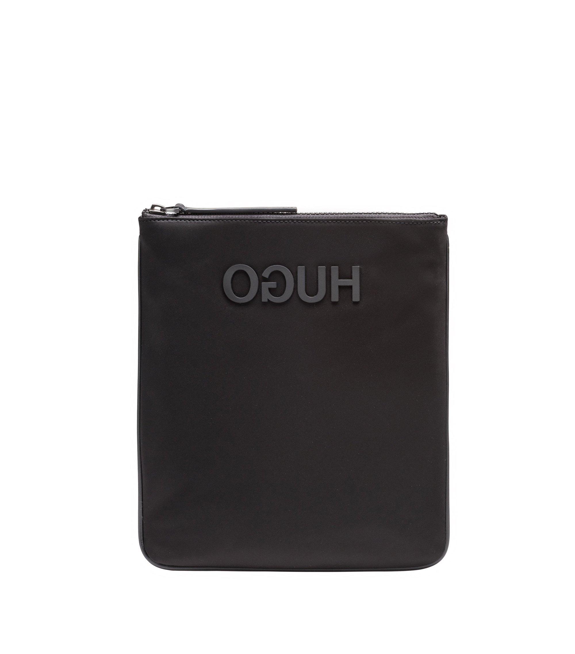 Envelope bag in nylon gabardine with rubberised reverse logo, Black