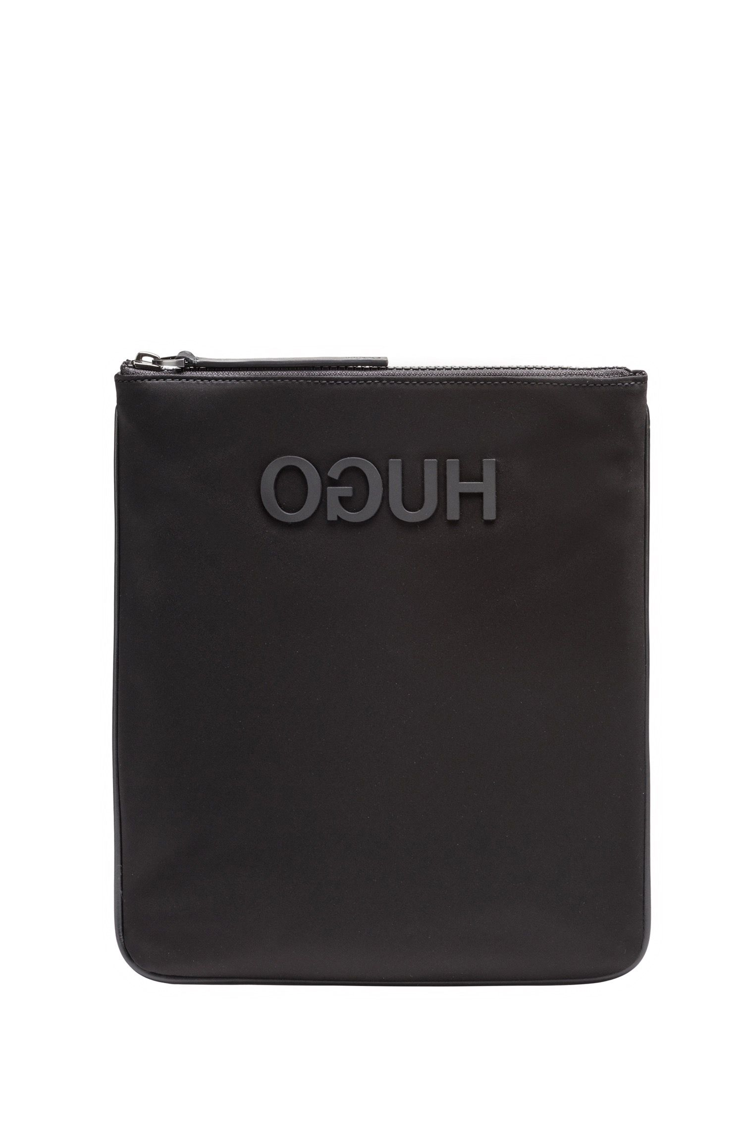 Envelope bag in nylon gabardine with rubberised reverse logo, Black