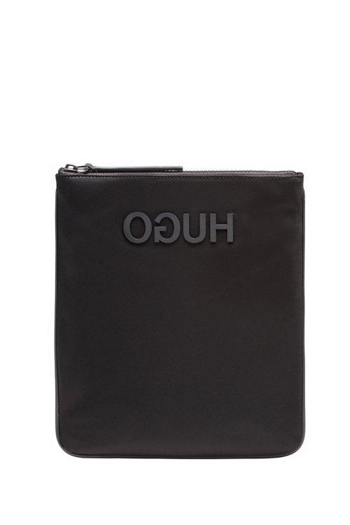 Hugo Boss - Envelope bag in nylon gabardine with rubberised reverse logo - 1