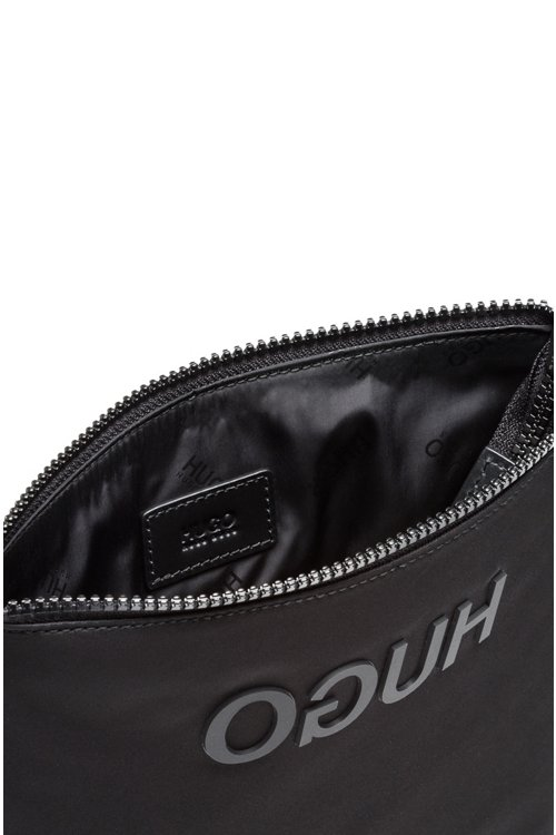 Hugo Boss - Envelope bag in nylon gabardine with rubberised reverse logo - 3