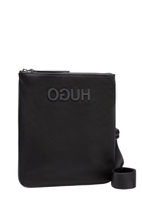 Hugo Boss - Envelope bag in nylon gabardine with rubberised reverse logo - 4