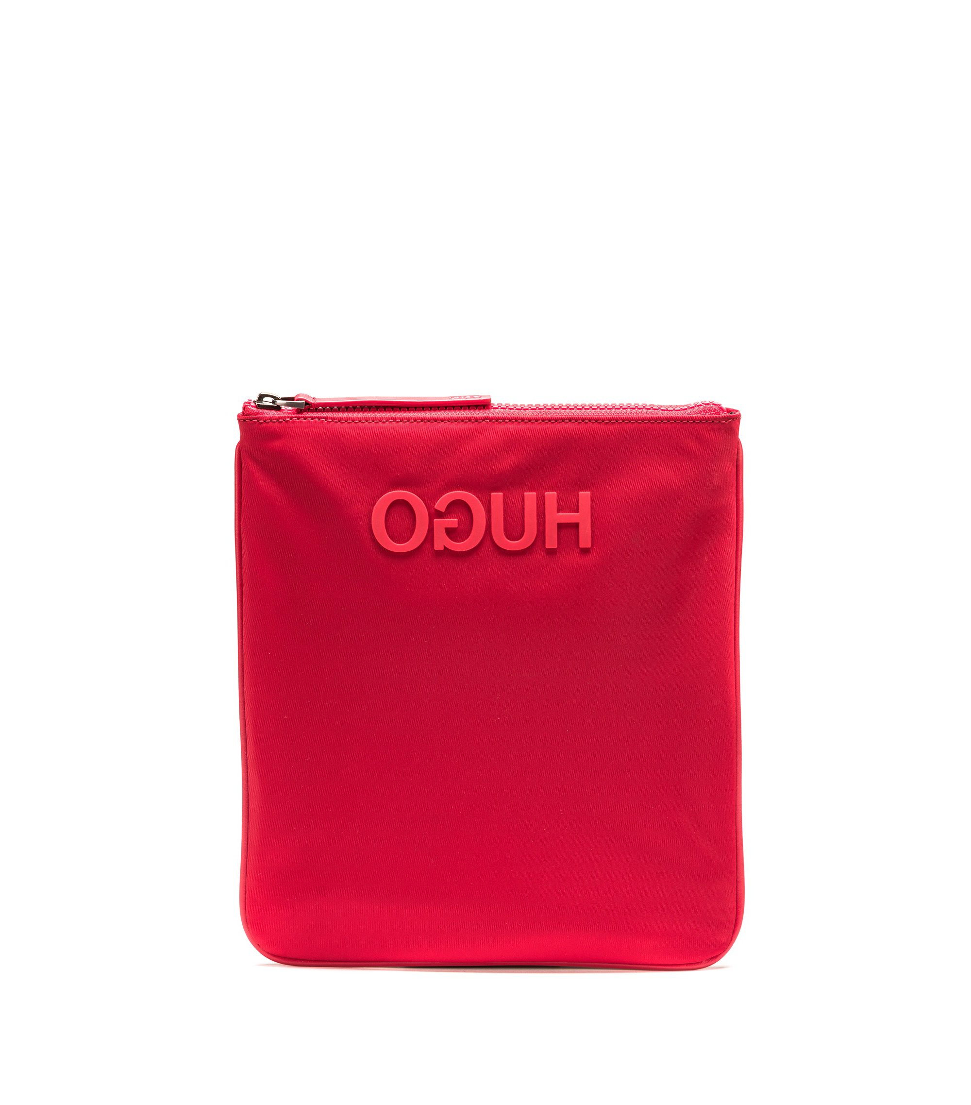 Borsa envelope in gabardine di tessuto tecnico con logo a rovescio gommato, Rosso