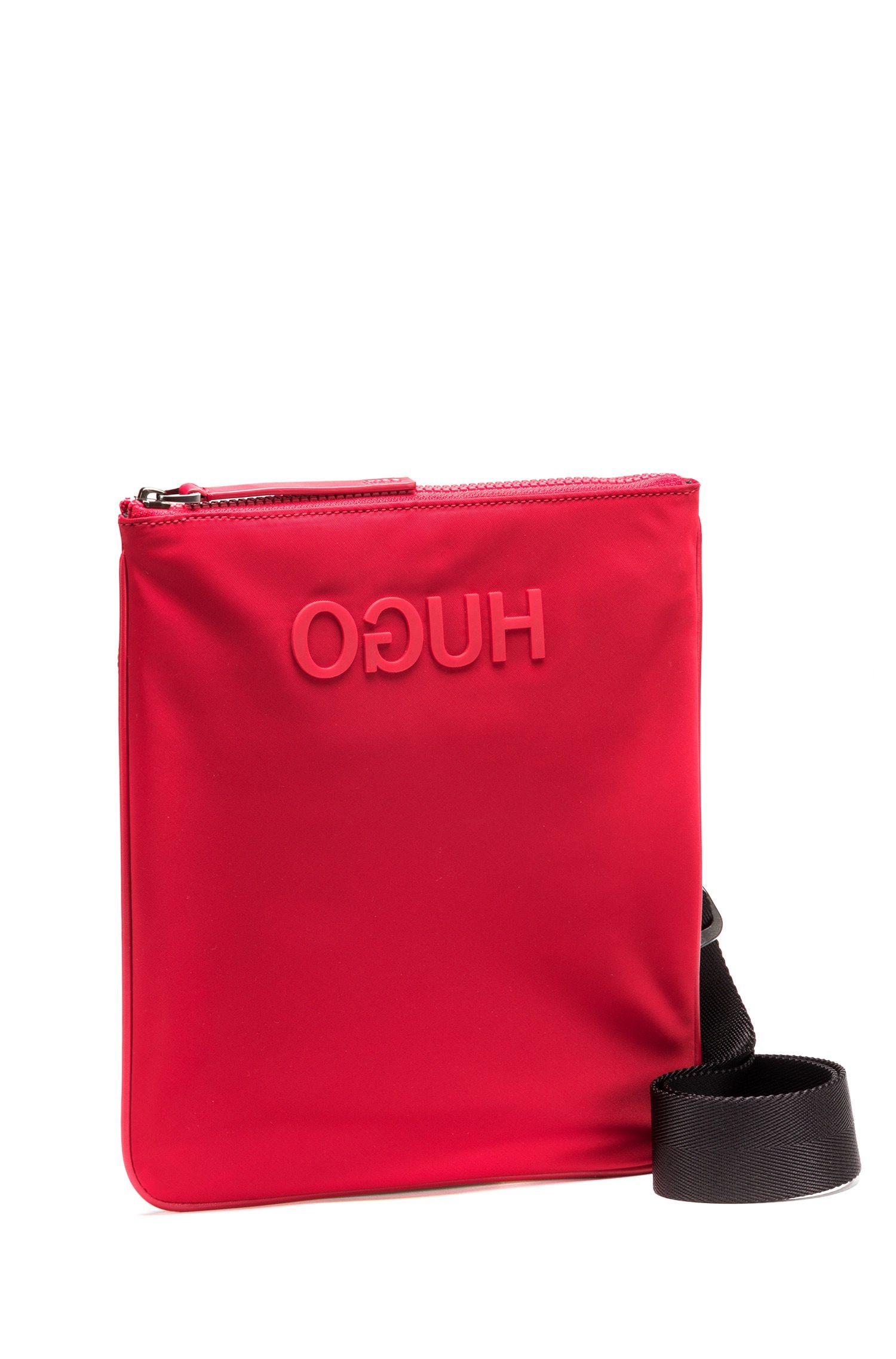 Enveloptas van nylon gabardine met gegommeerd gespiegeld logo, Rood