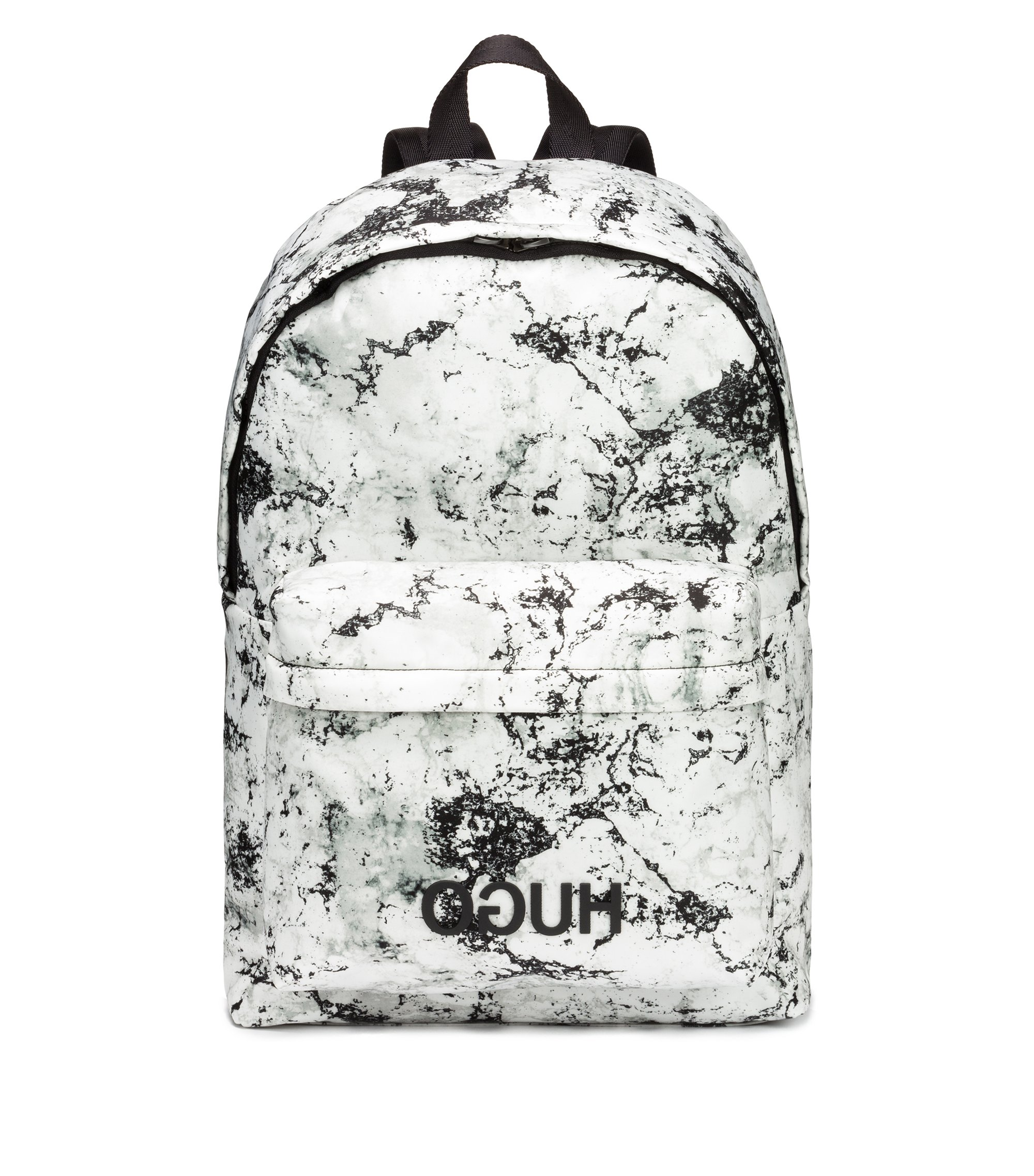 Snow-camouflage print backpack in nylon gabardine with reverse logo, Gemustert