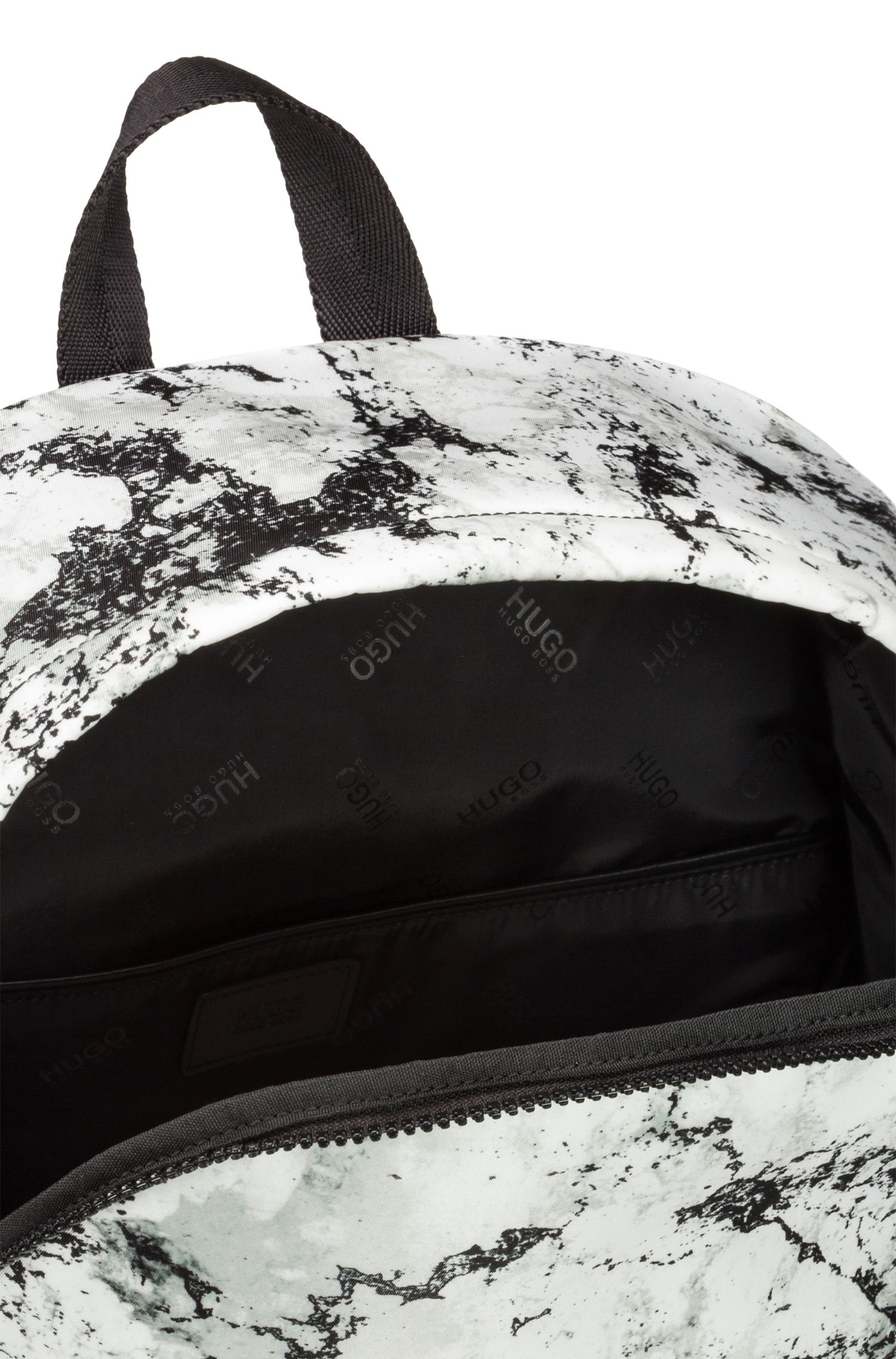 Snow-camouflage print backpack in nylon gabardine with reverse logo, Patterned