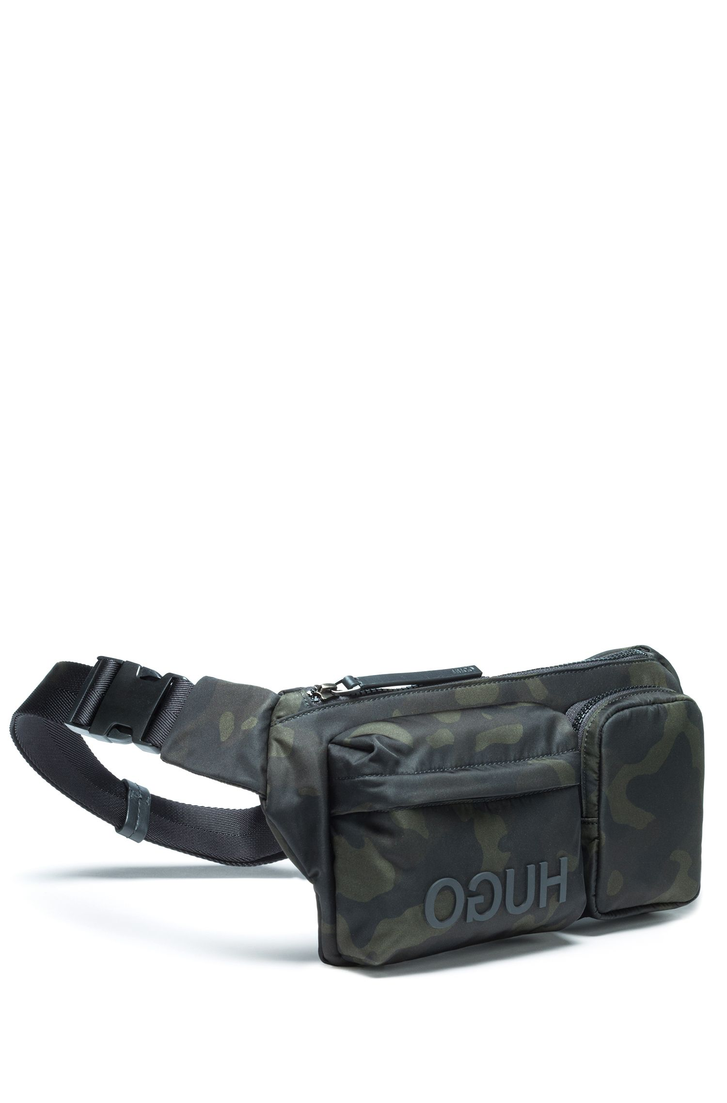 Camouflage-print belt bag in nylon gabardine, Patterned