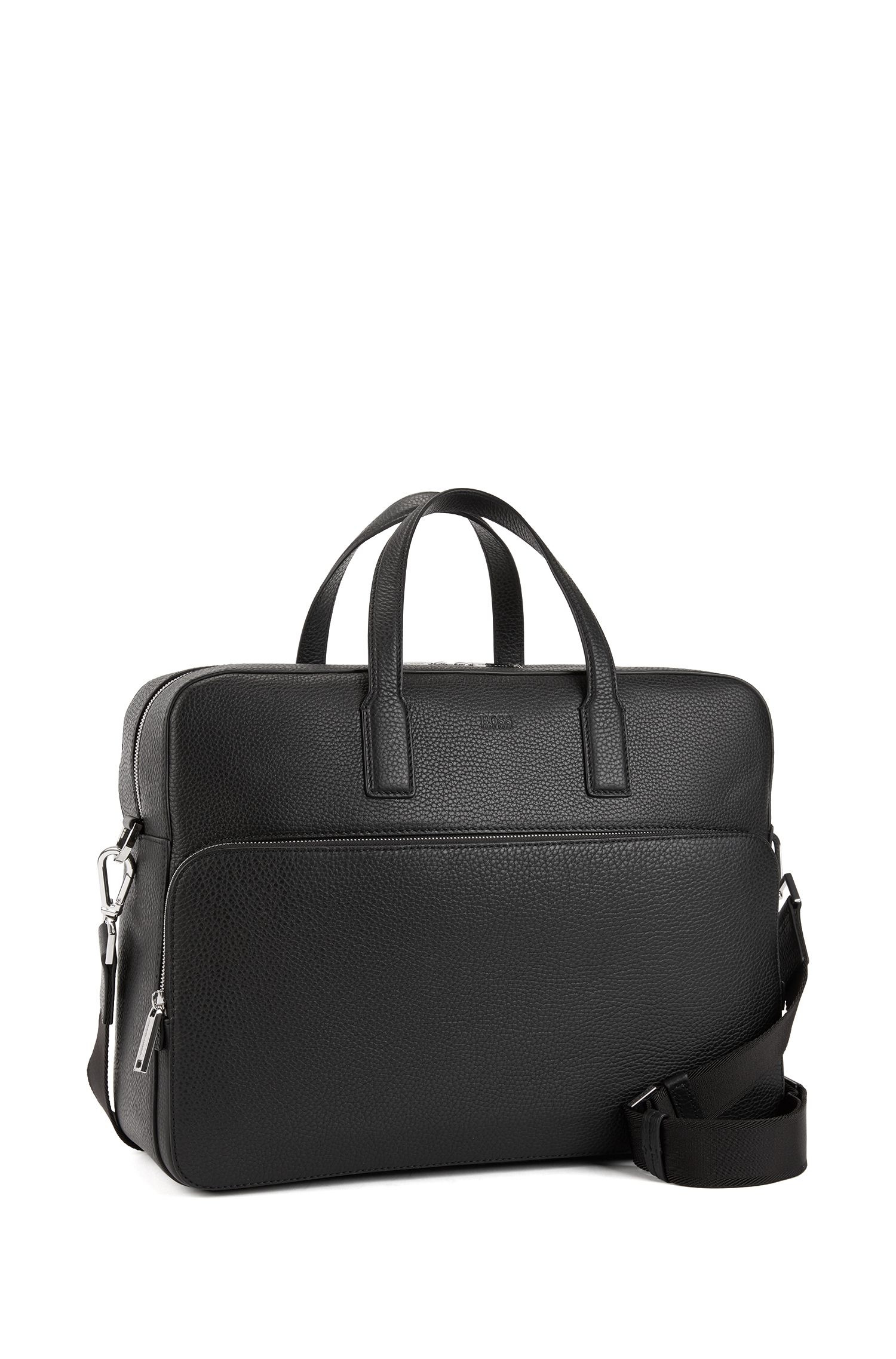 Document case in grainy Italian leather with smart sleeve, Black
