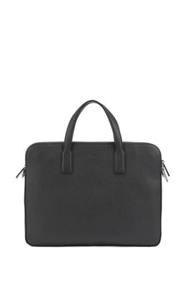 Double document case in grainy Italian leather, Black