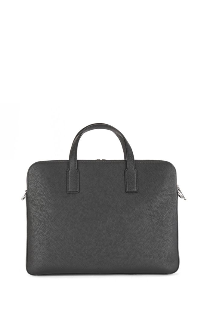 Double document case in grainy Italian leather