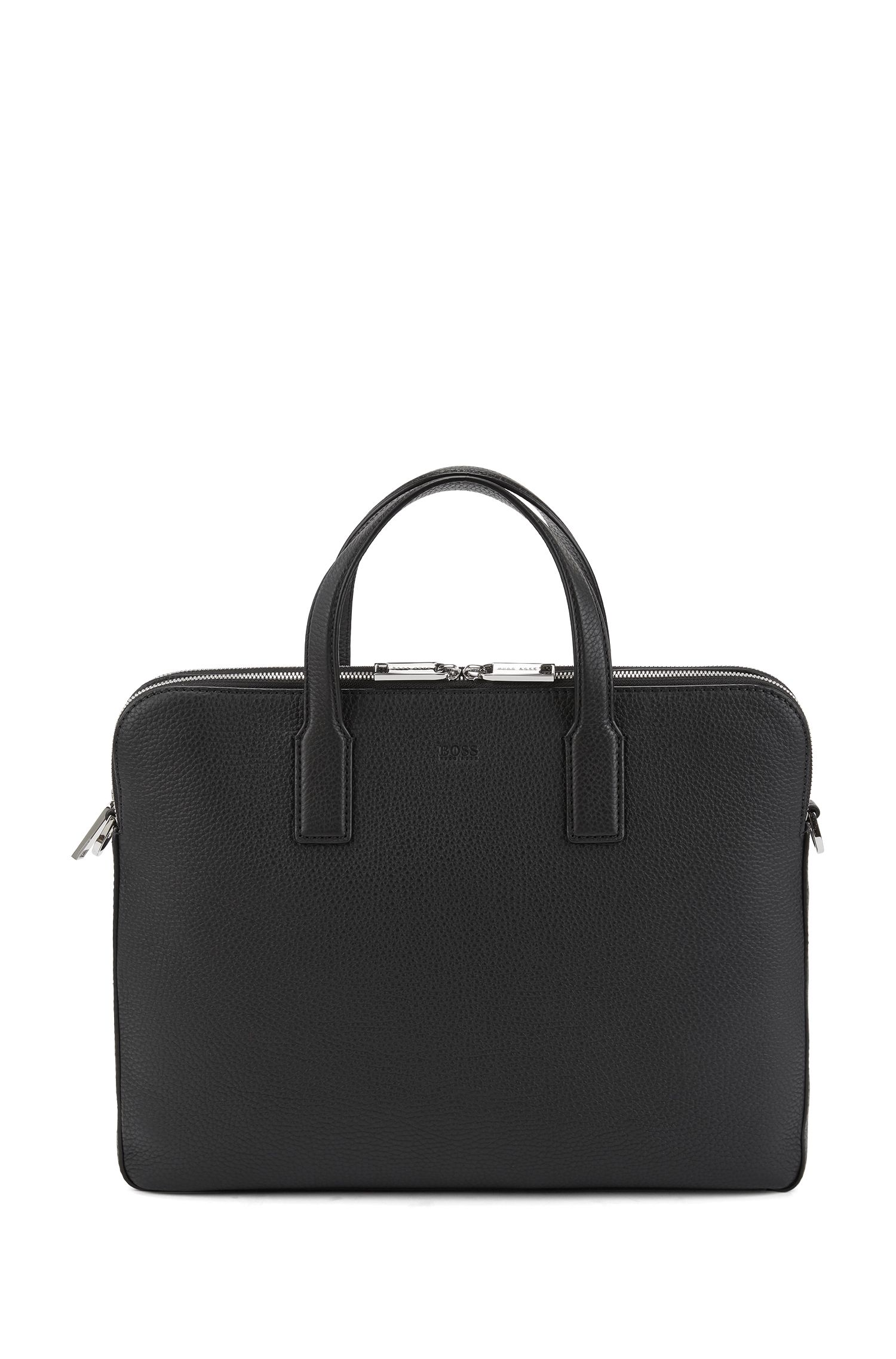 Double document case in grainy Italian leather, Black