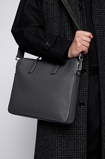 双面意大利纹理皮革公文包,  032_Medium Grey