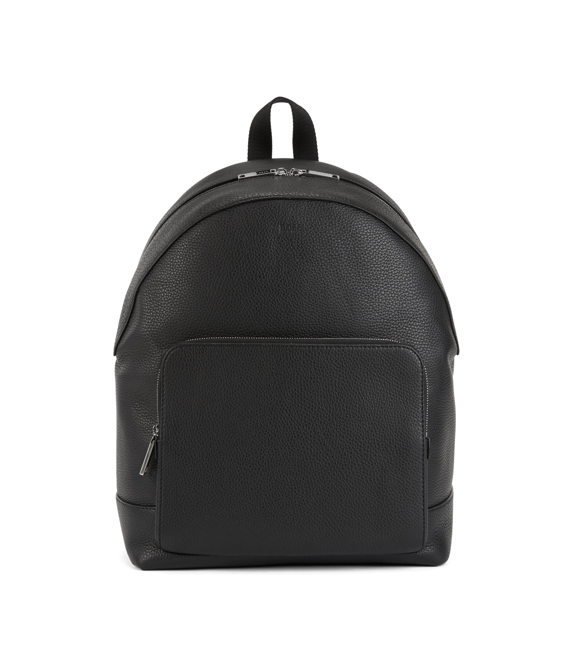 Backpack in grainy Italian leather with two-way zip, Black