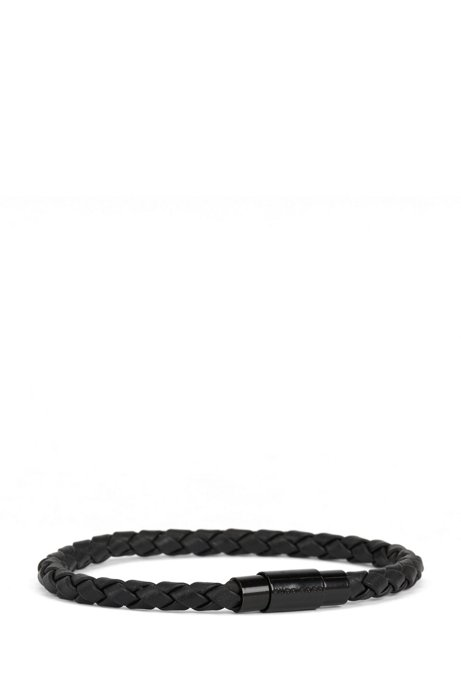 Italian-made single-wrap bracelet in woven calf leather, Black