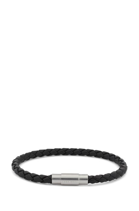 Italian-made single-wrap bracelet in woven calf leather, Grey
