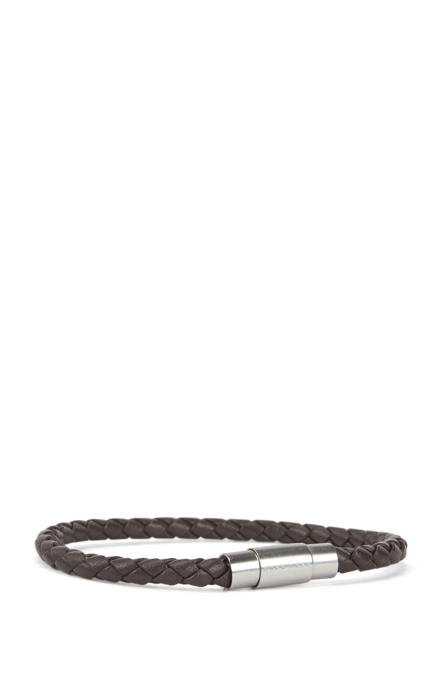 Italian-made single-wrap bracelet in woven calf leather, Dark Brown