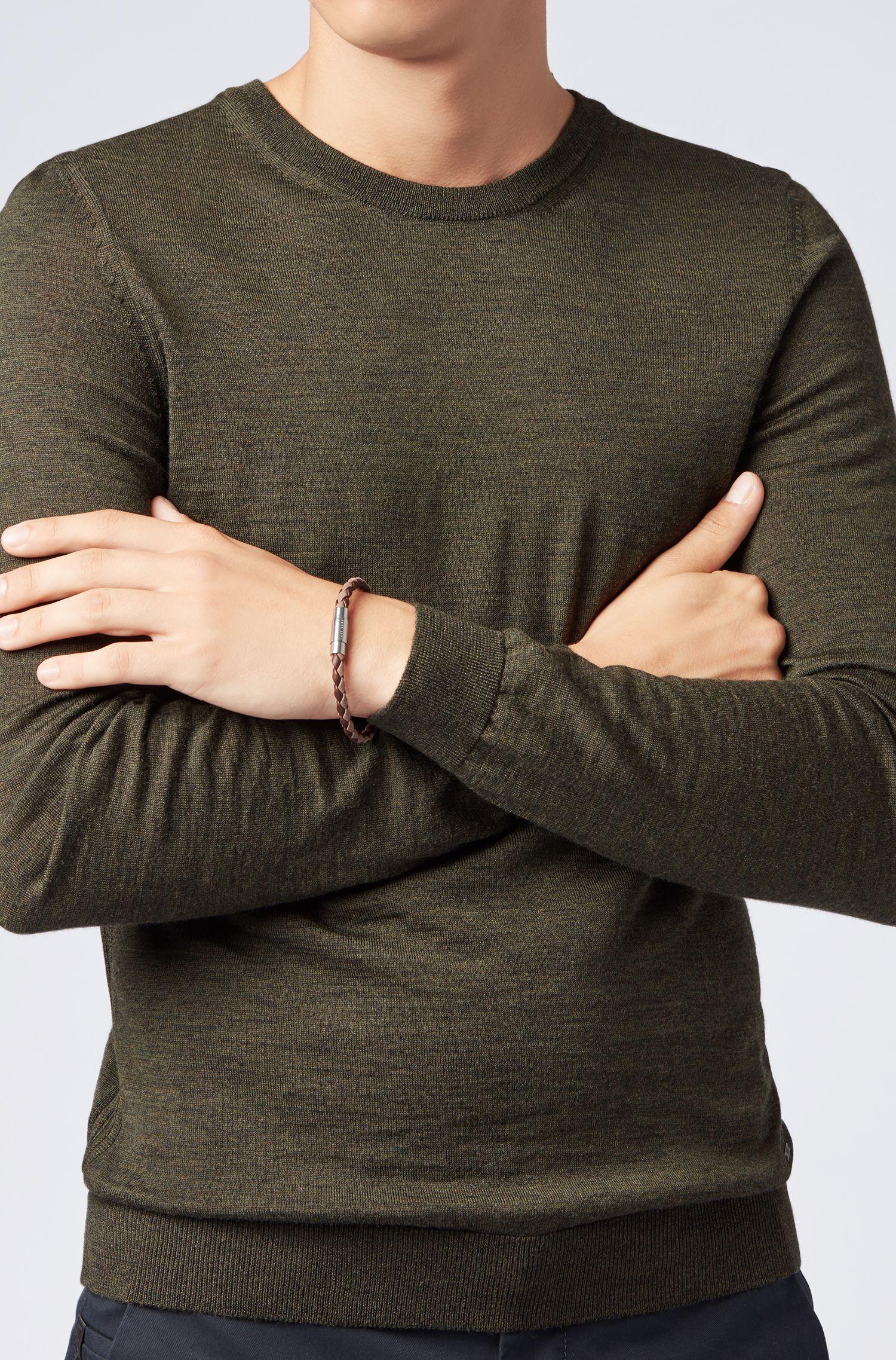 Italian-made single-wrap bracelet in woven calf leather