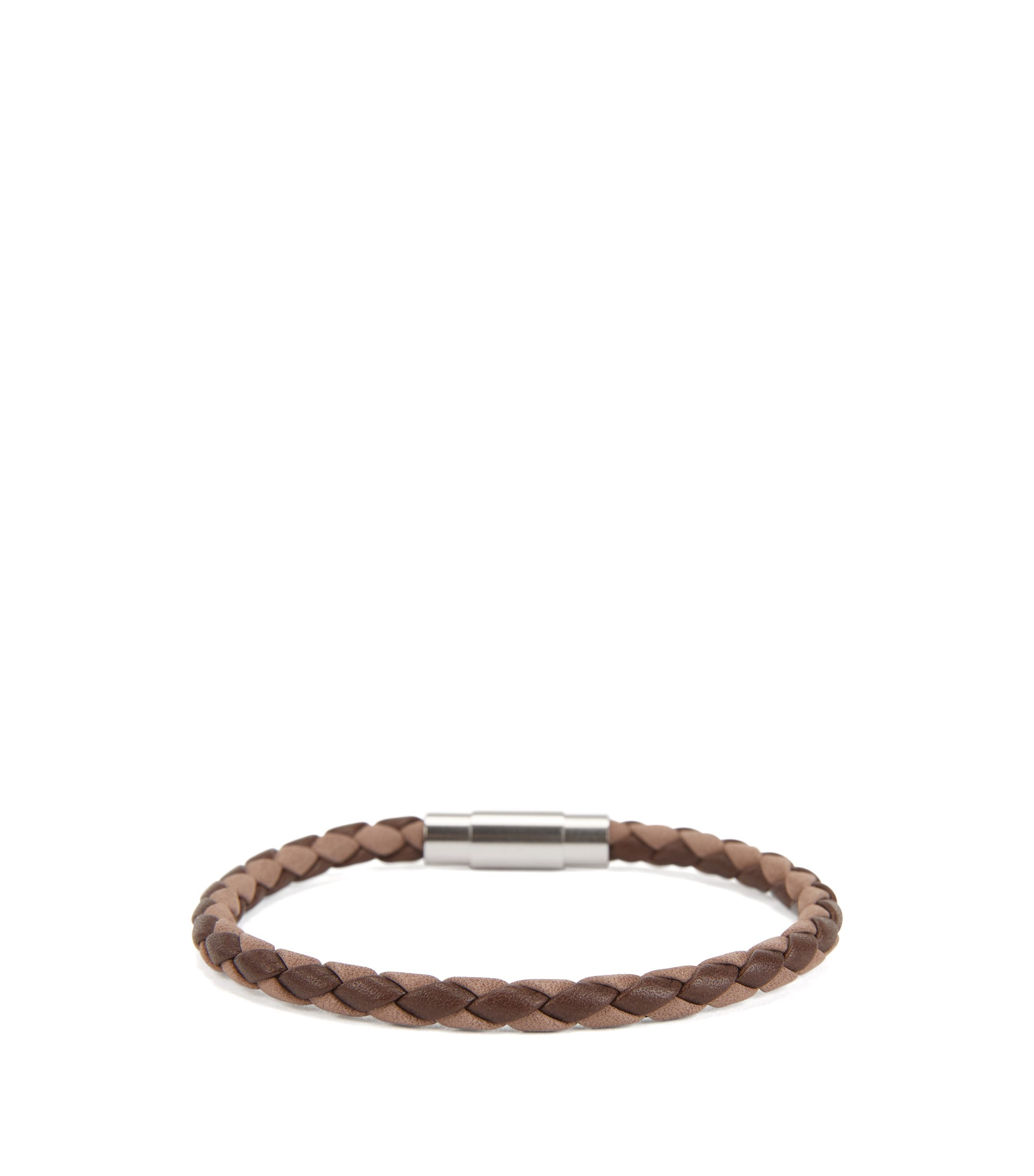 Italian-made single-wrap bracelet in woven calf leather, Brown