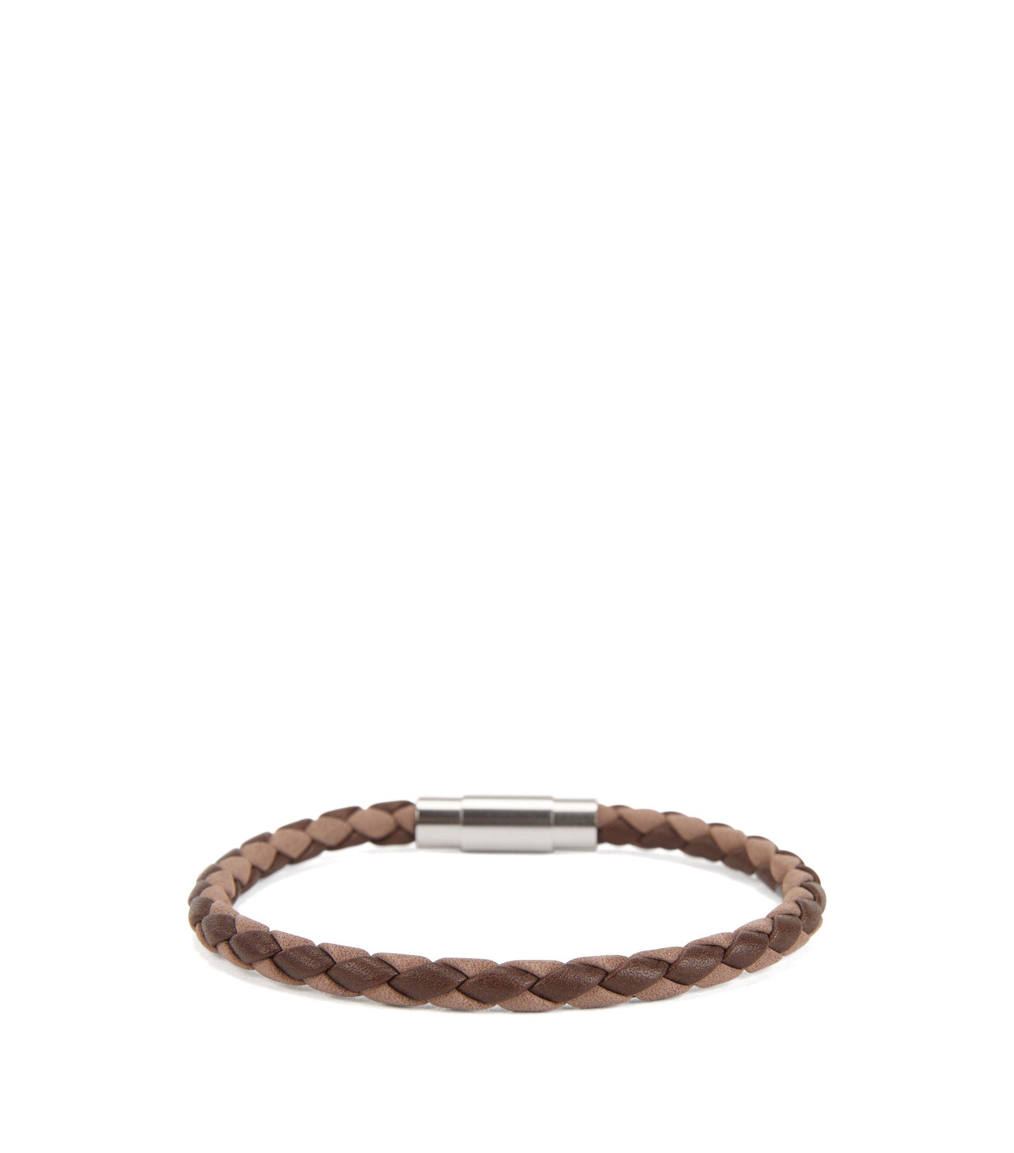 Bracelet confectionné en Italie en cuir de veau tissé, Marron