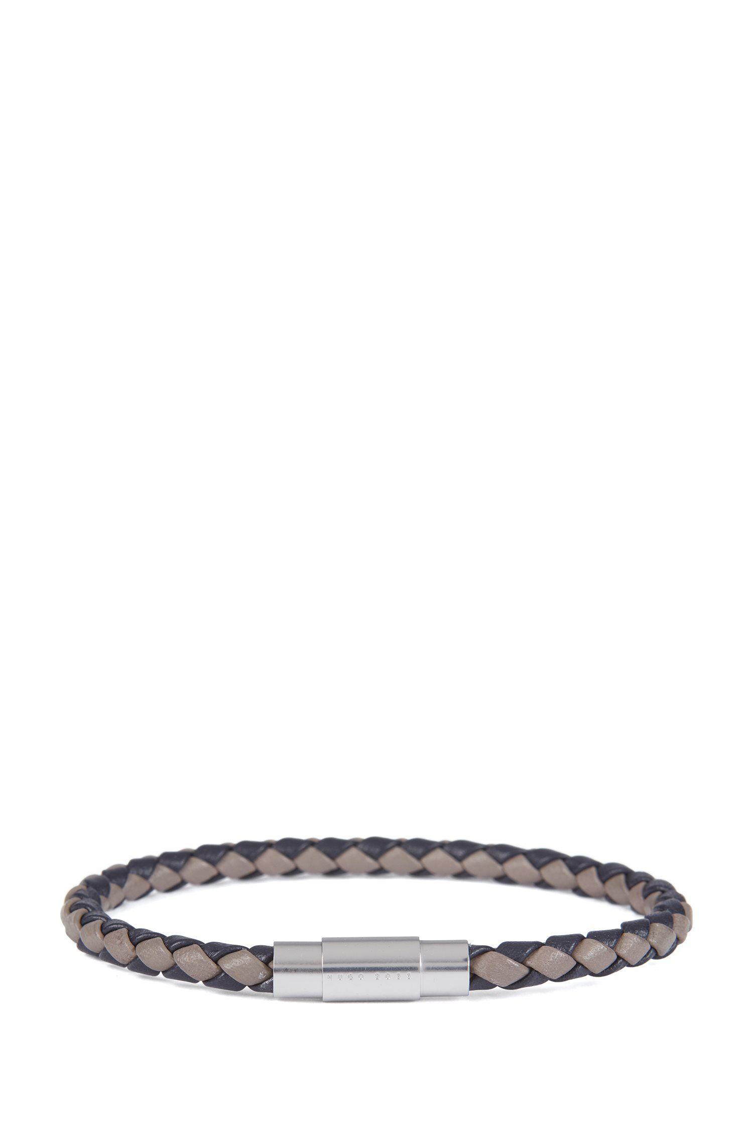 Italian-made single-wrap bracelet in woven calf leather, Dark Blue