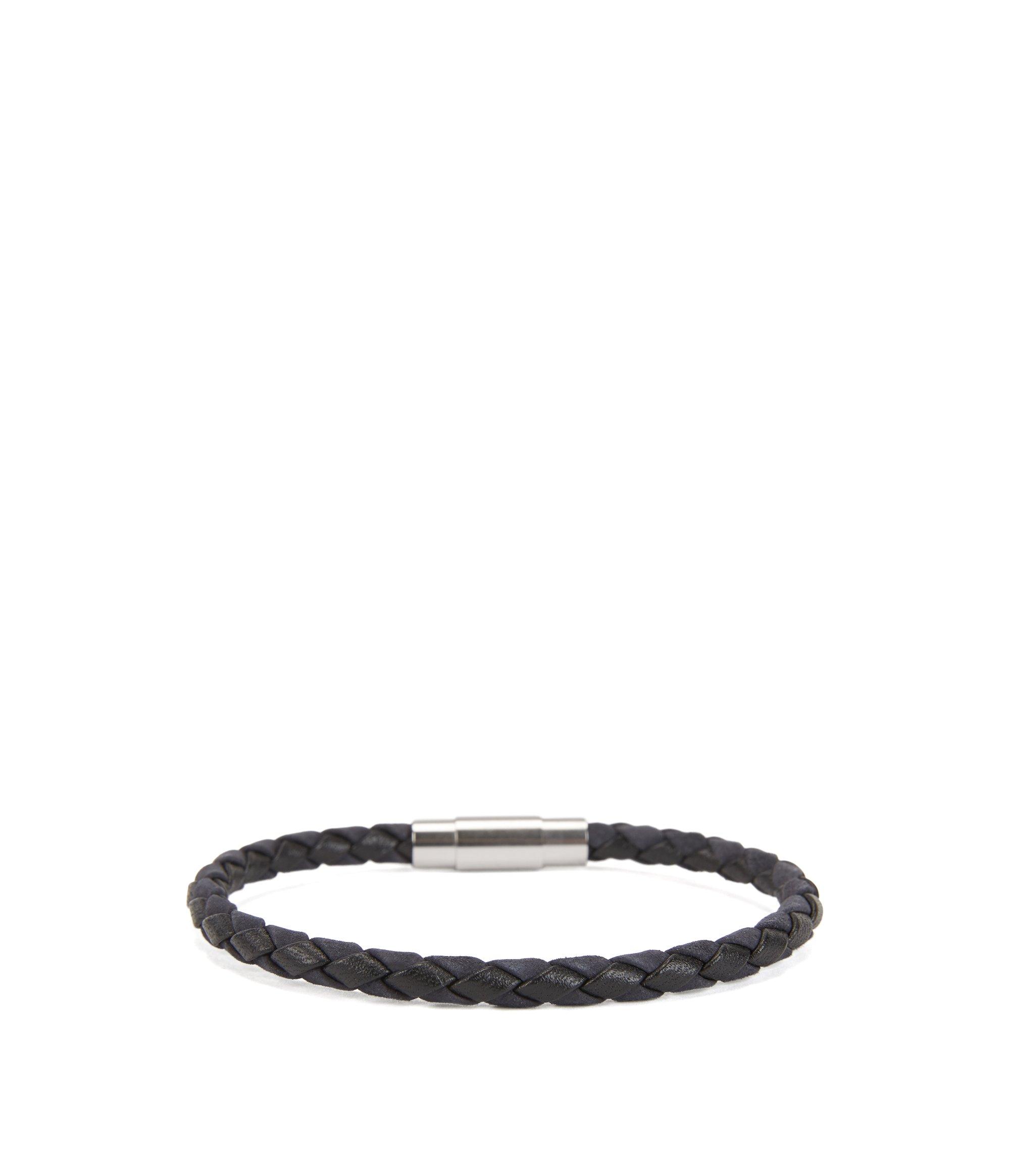 In Italië vervaardigde, enkele armband van geweven kalfsleer, Donkerblauw