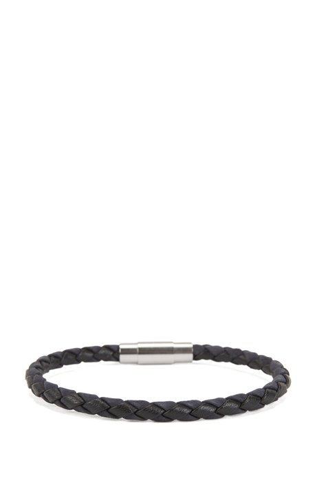 Italian-made single-wrap bracelet in woven calf leather, Dark Blue
