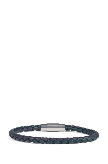 Italian-made single-wrap bracelet in woven calf leather, Blue