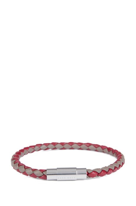 Italian-made single-wrap bracelet in woven calf leather, Red