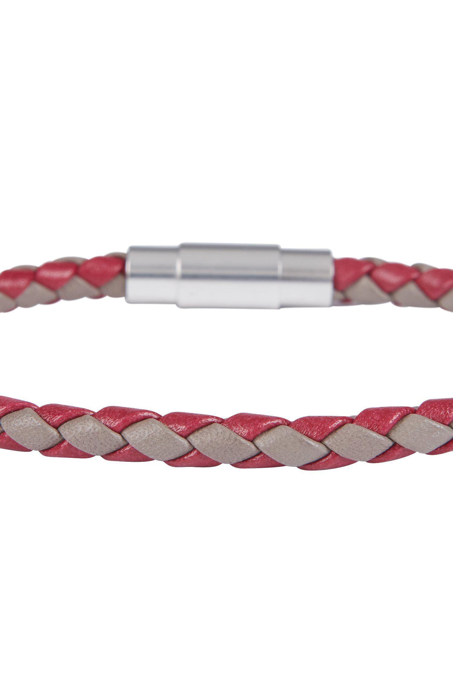 In Italië vervaardigde, enkele armband van geweven kalfsleer, Rood