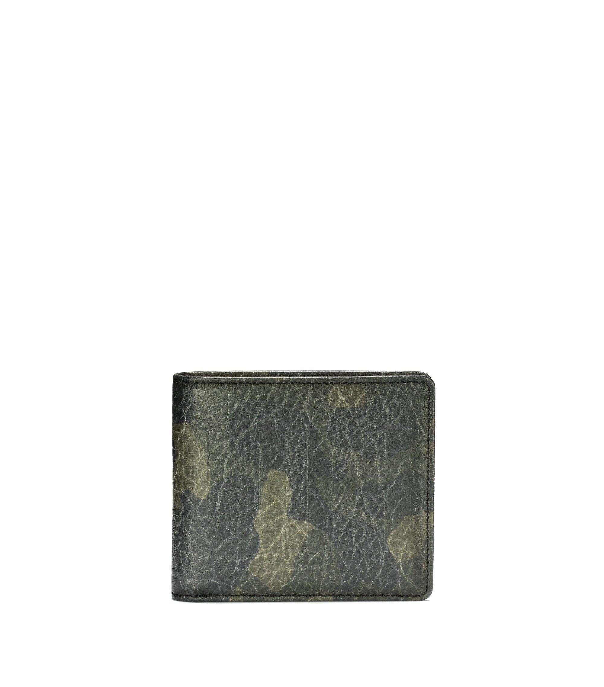 Klapp-Geldbörse aus Leder mit Camouflage-Print und acht Kartenfächern, Gemustert