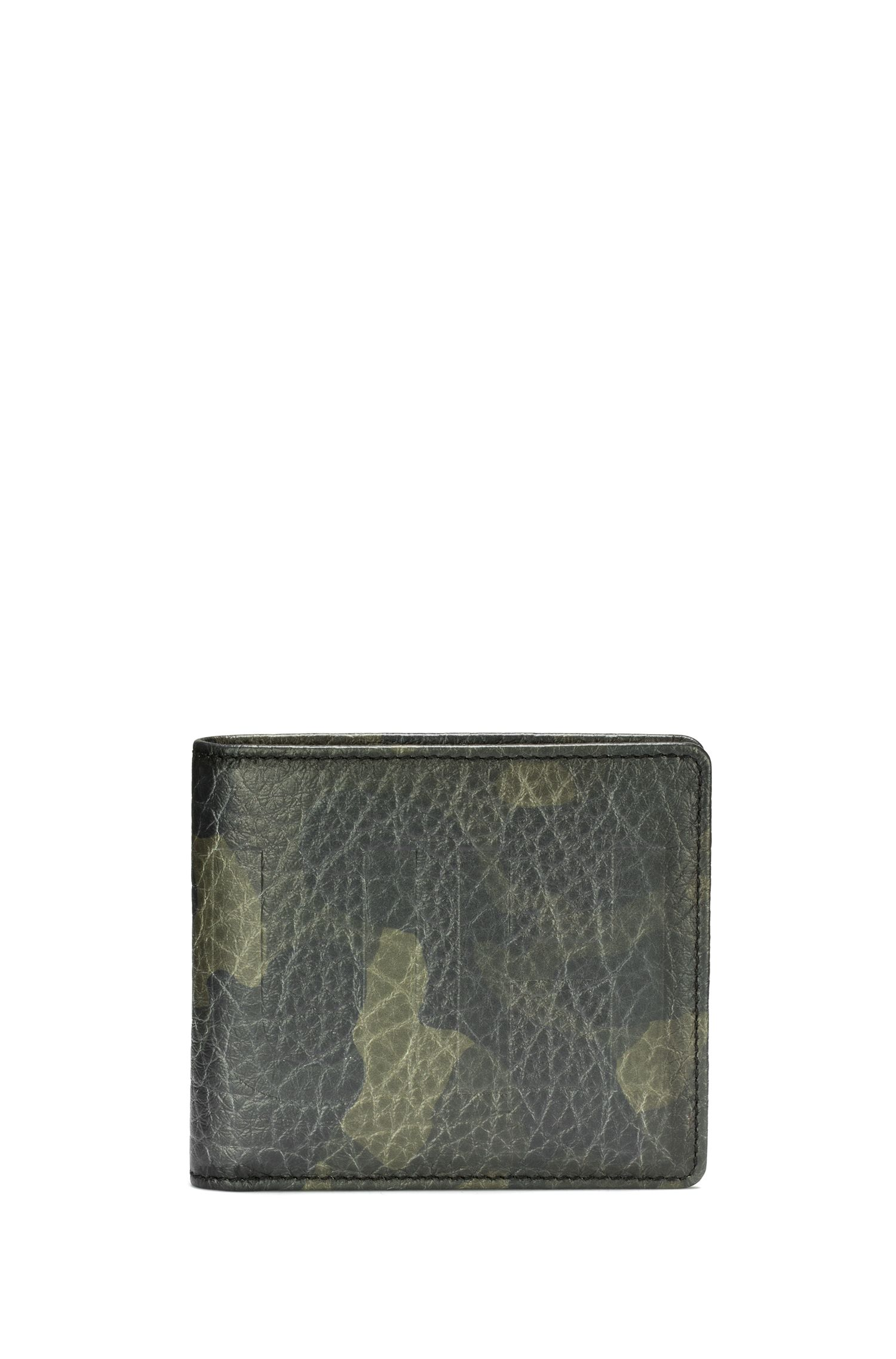 Billfold wallet in camouflage-print leather with eight card slots