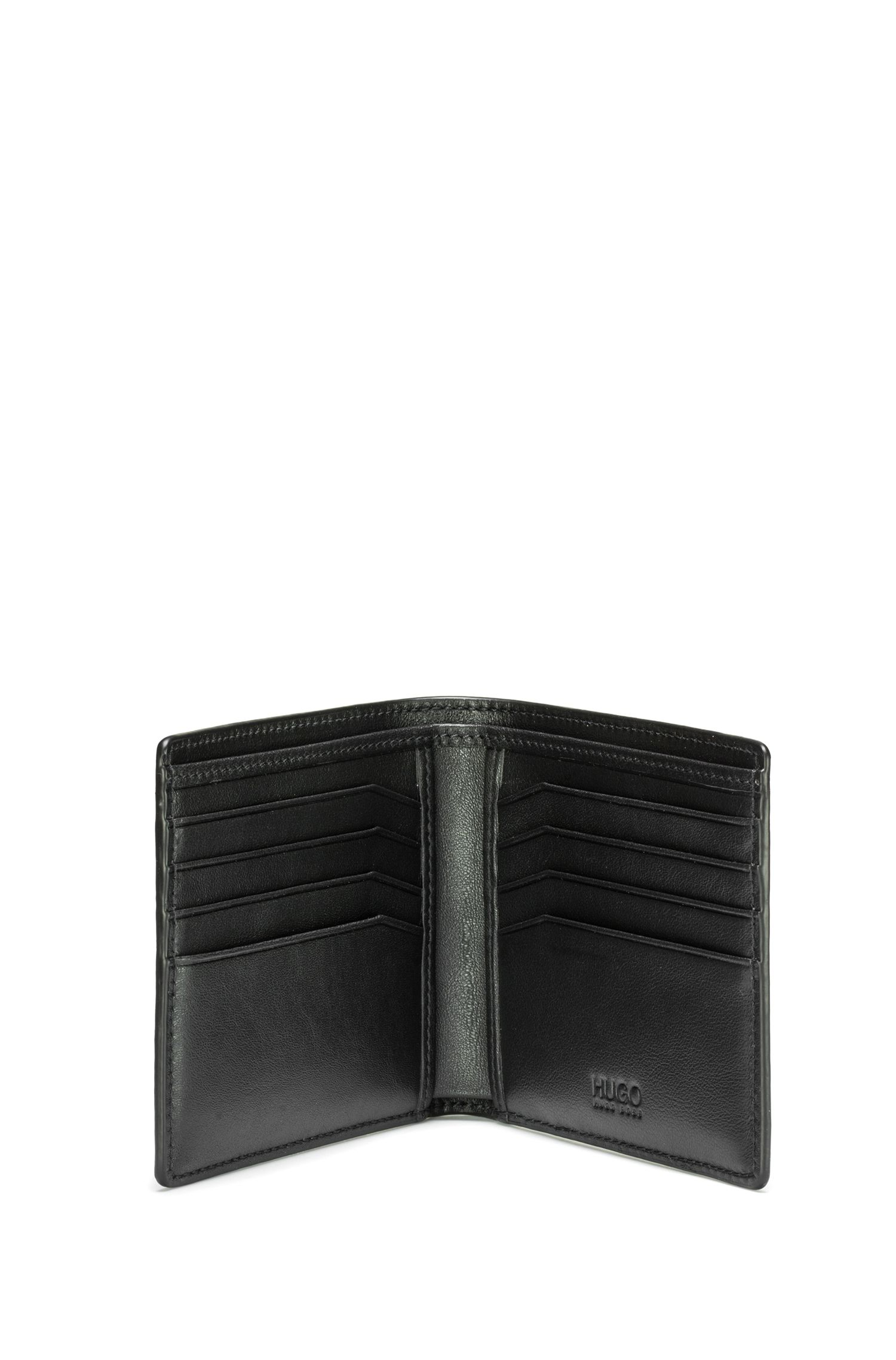 Reverse-logo wallet in leather, Black
