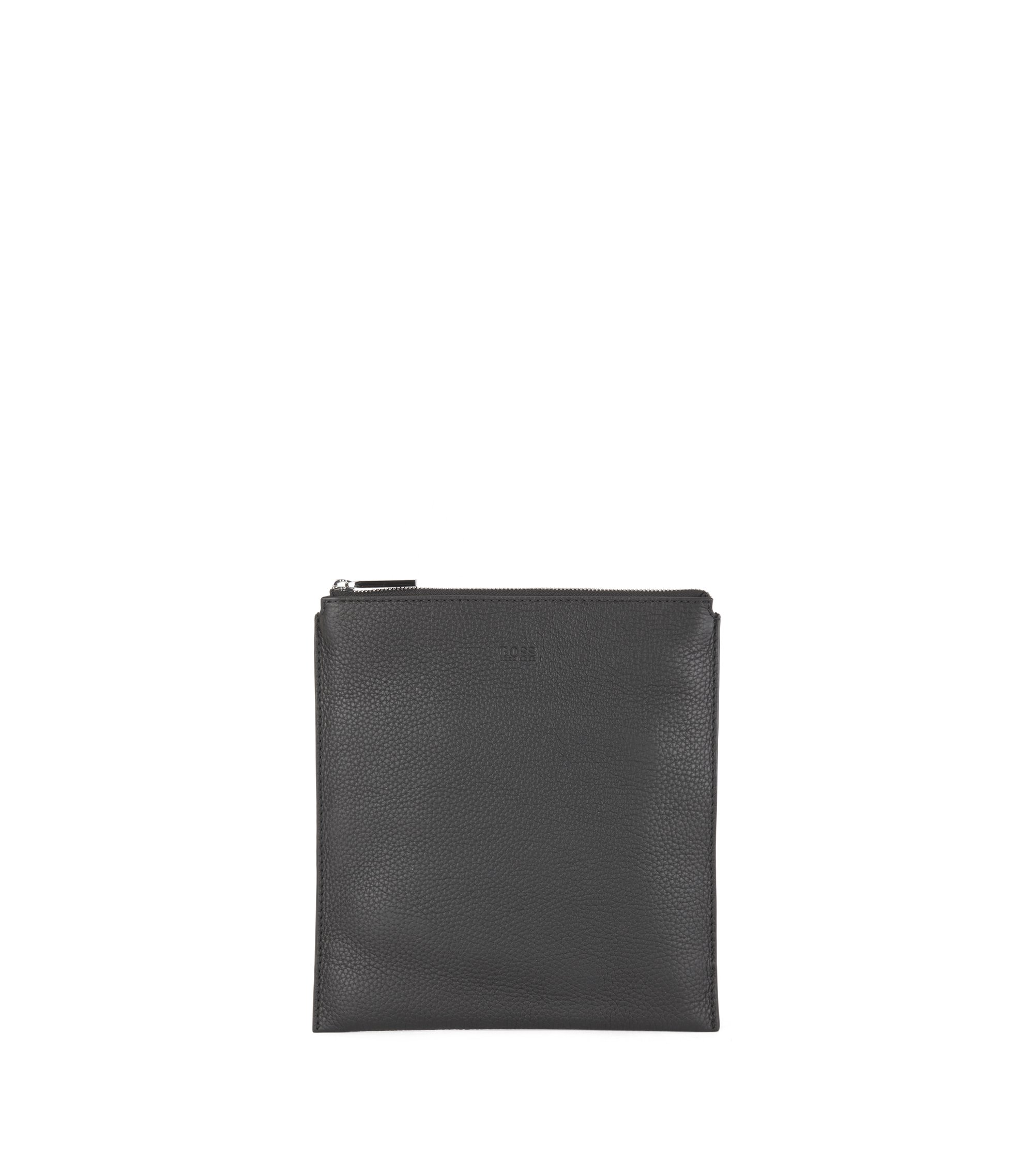 Envelope bag in grainy Italian leather, Black