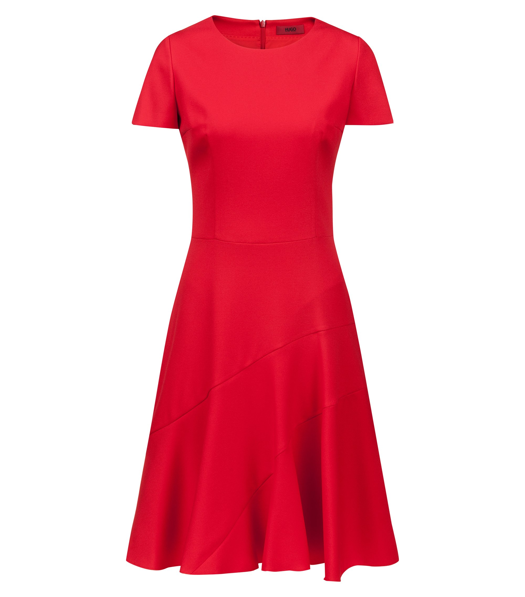 Short-sleeved A-line dress in stretch crepe, Red