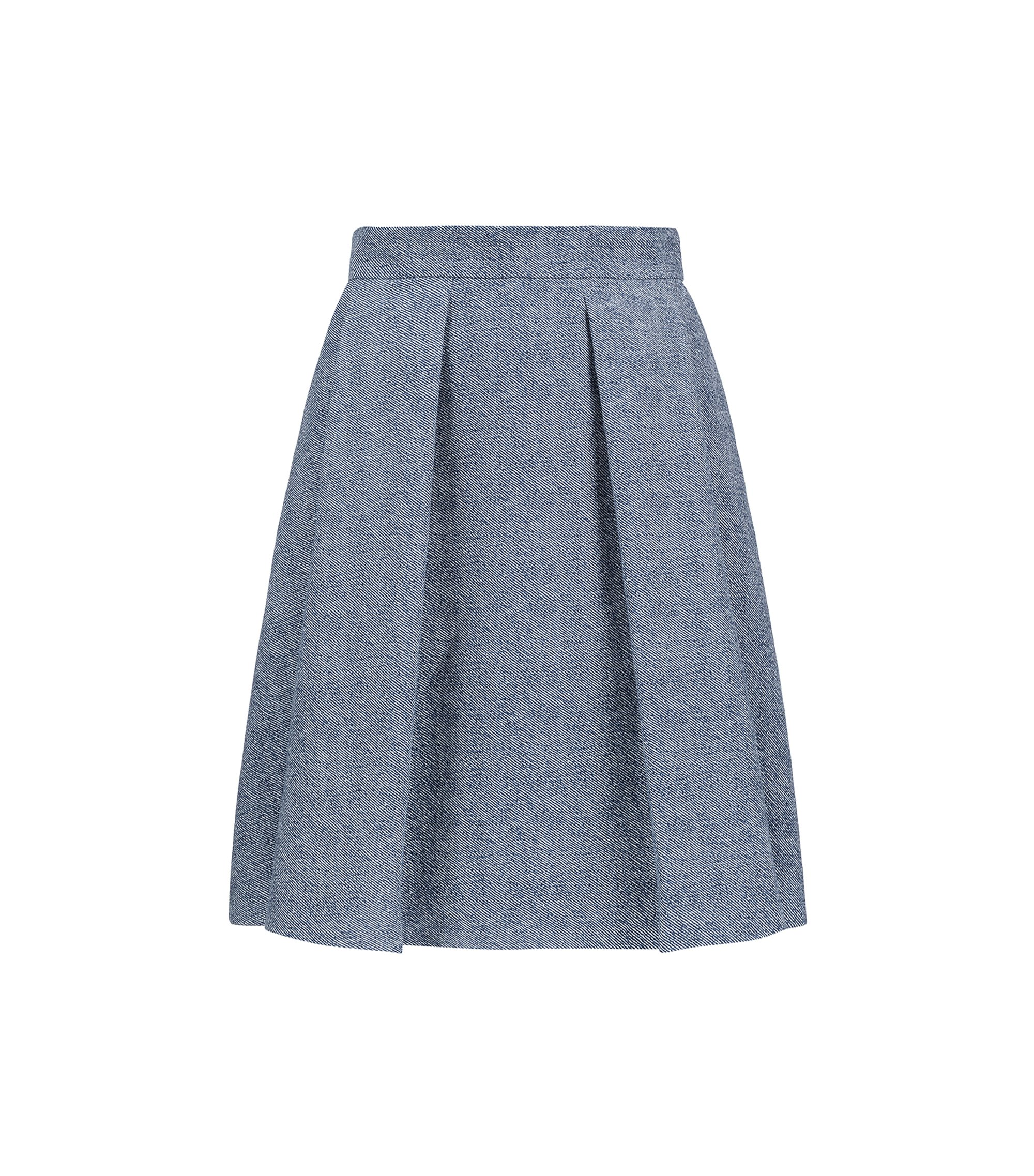 Printed skirt in cotton blended with linen, Blue