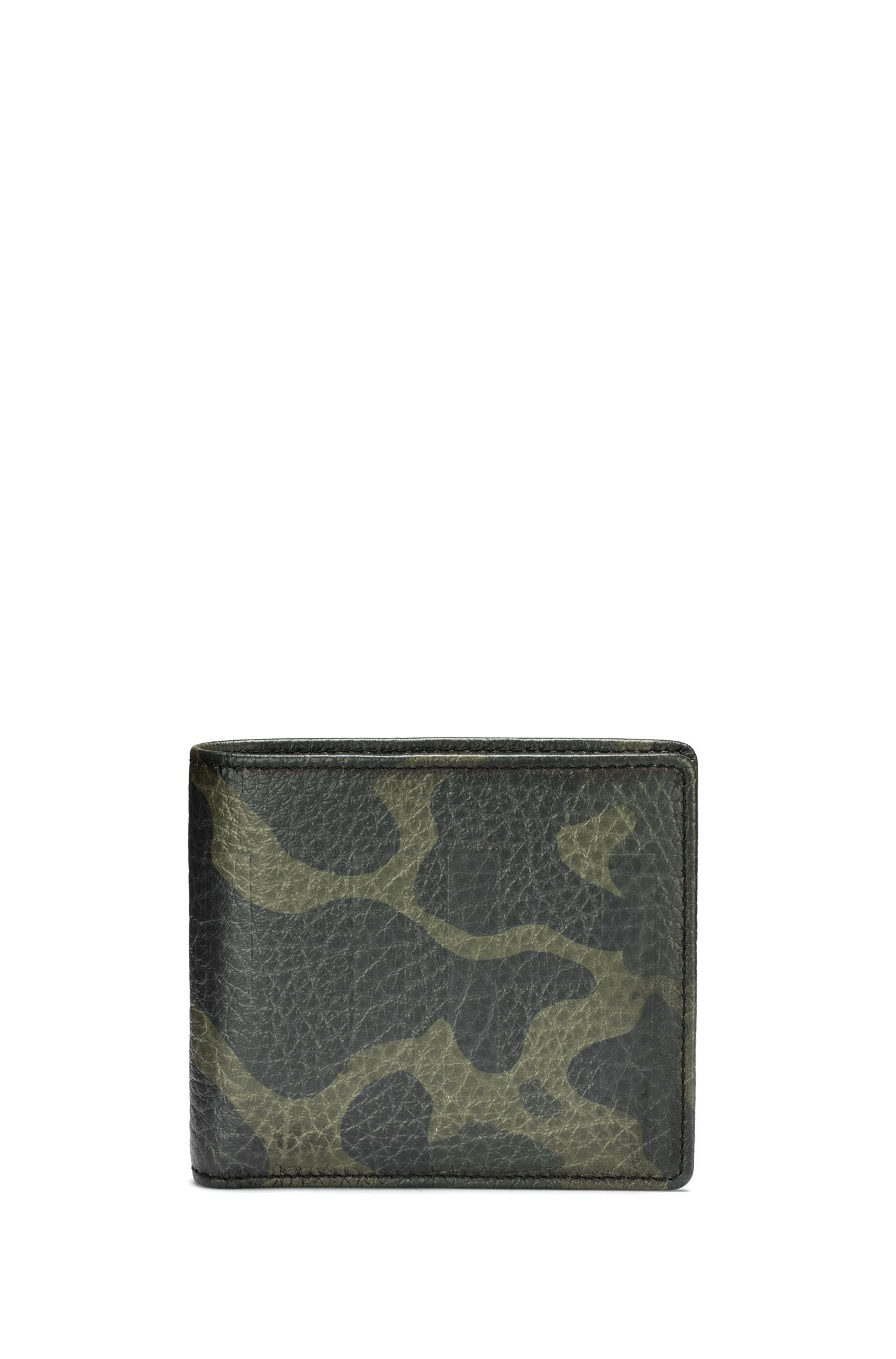 Camouflage-print leather wallet with coin pouch, Patterned