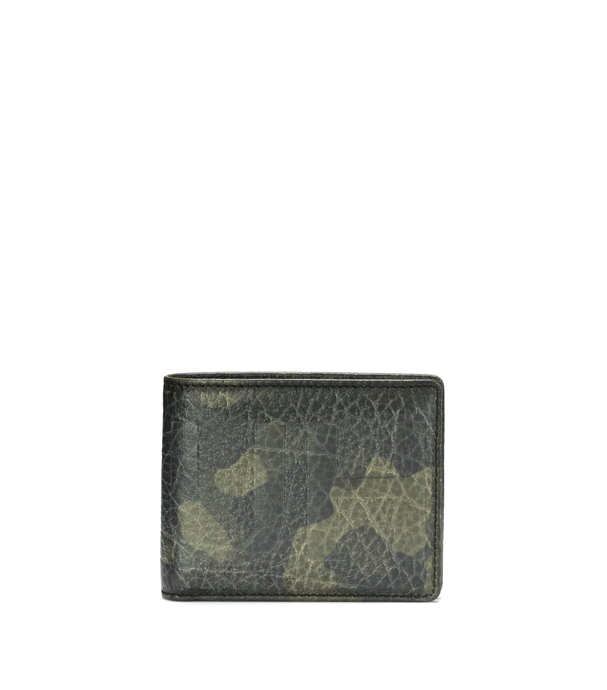 Billfold wallet in camouflage-print leather with embossed logo, Patterned