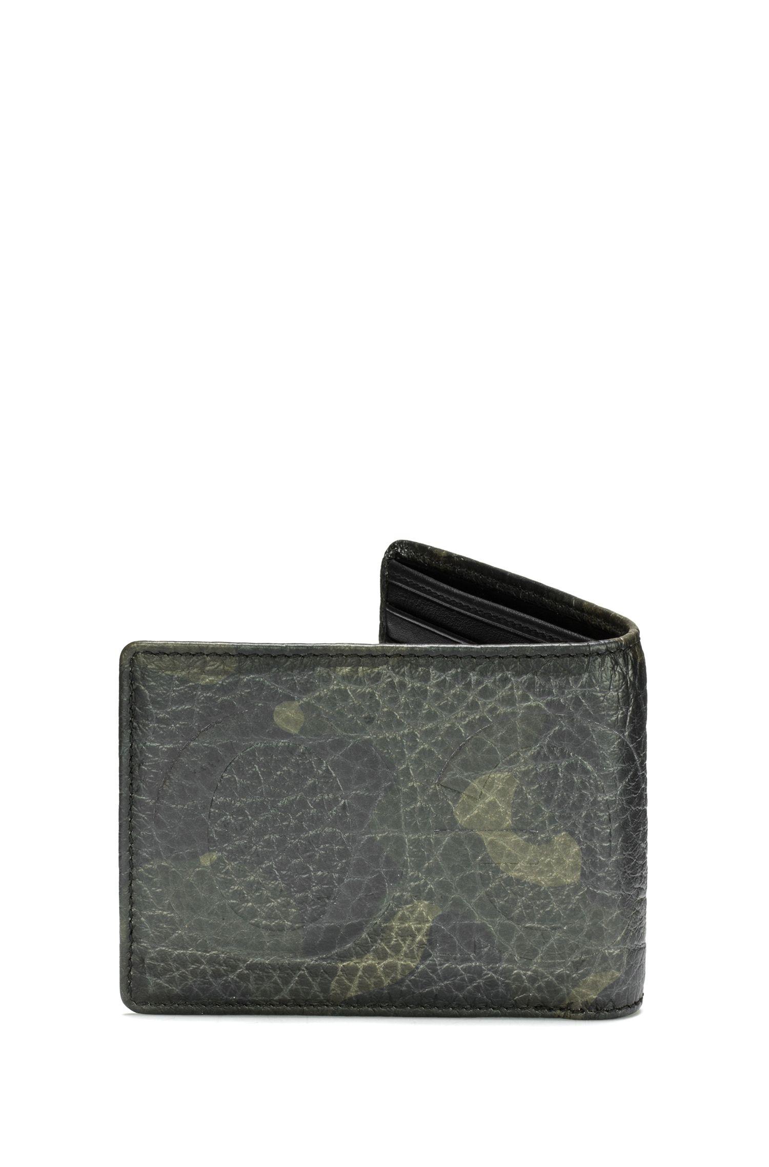Klapp-Geldbörse aus Leder mit Camouflage-Print und Logo-Prägung, Gemustert