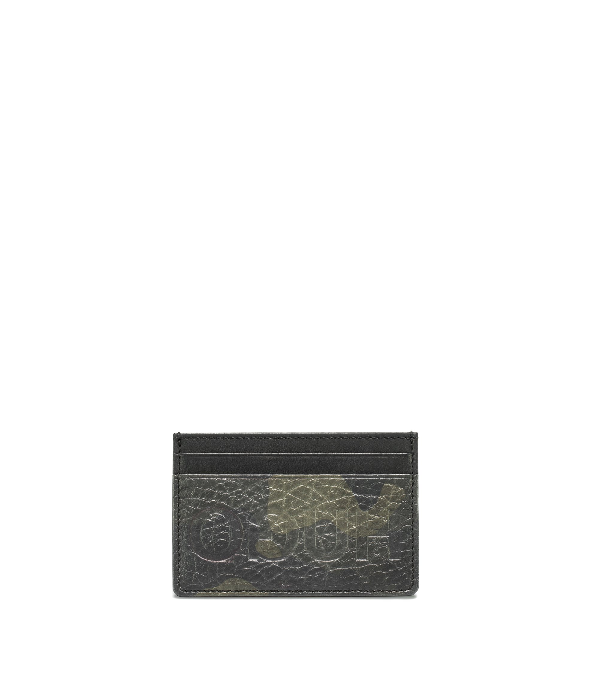 Camouflage-print leather card holder with reverse logo, Patterned