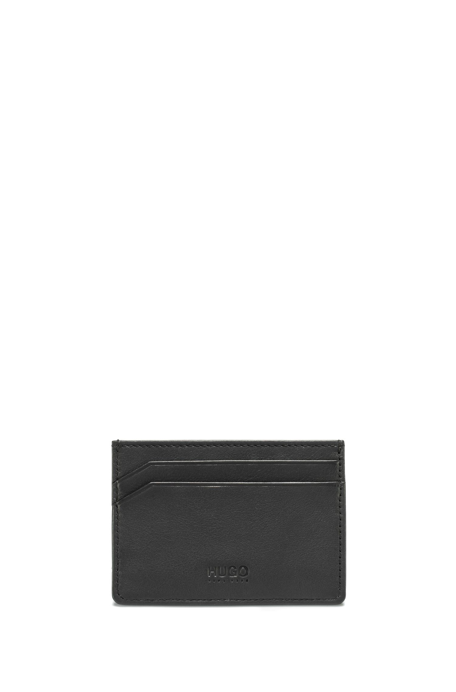 Camouflage-print leather card holder with reverse logo