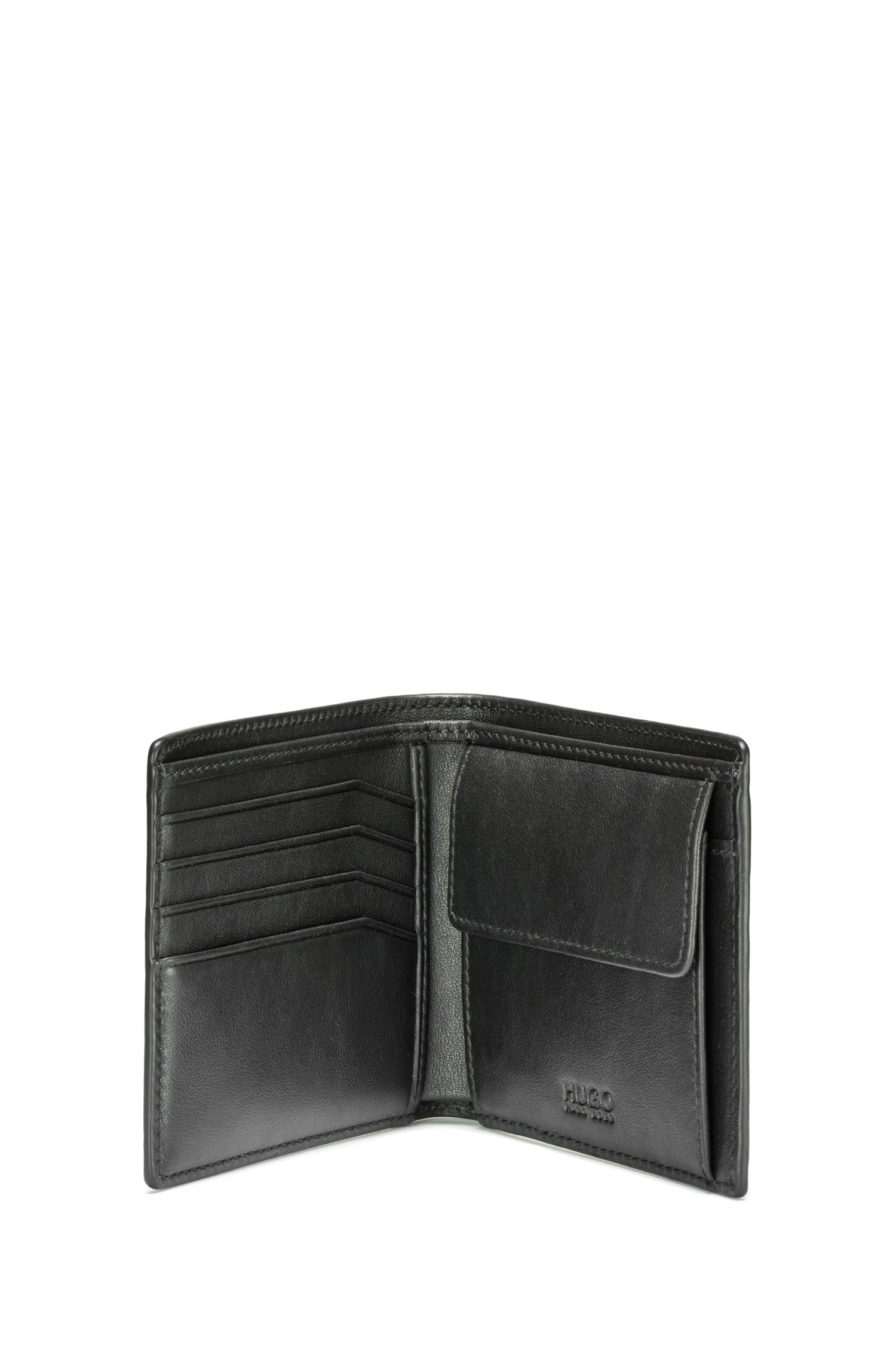Reverse-logo billfold wallet in leather with coin pocket, Black