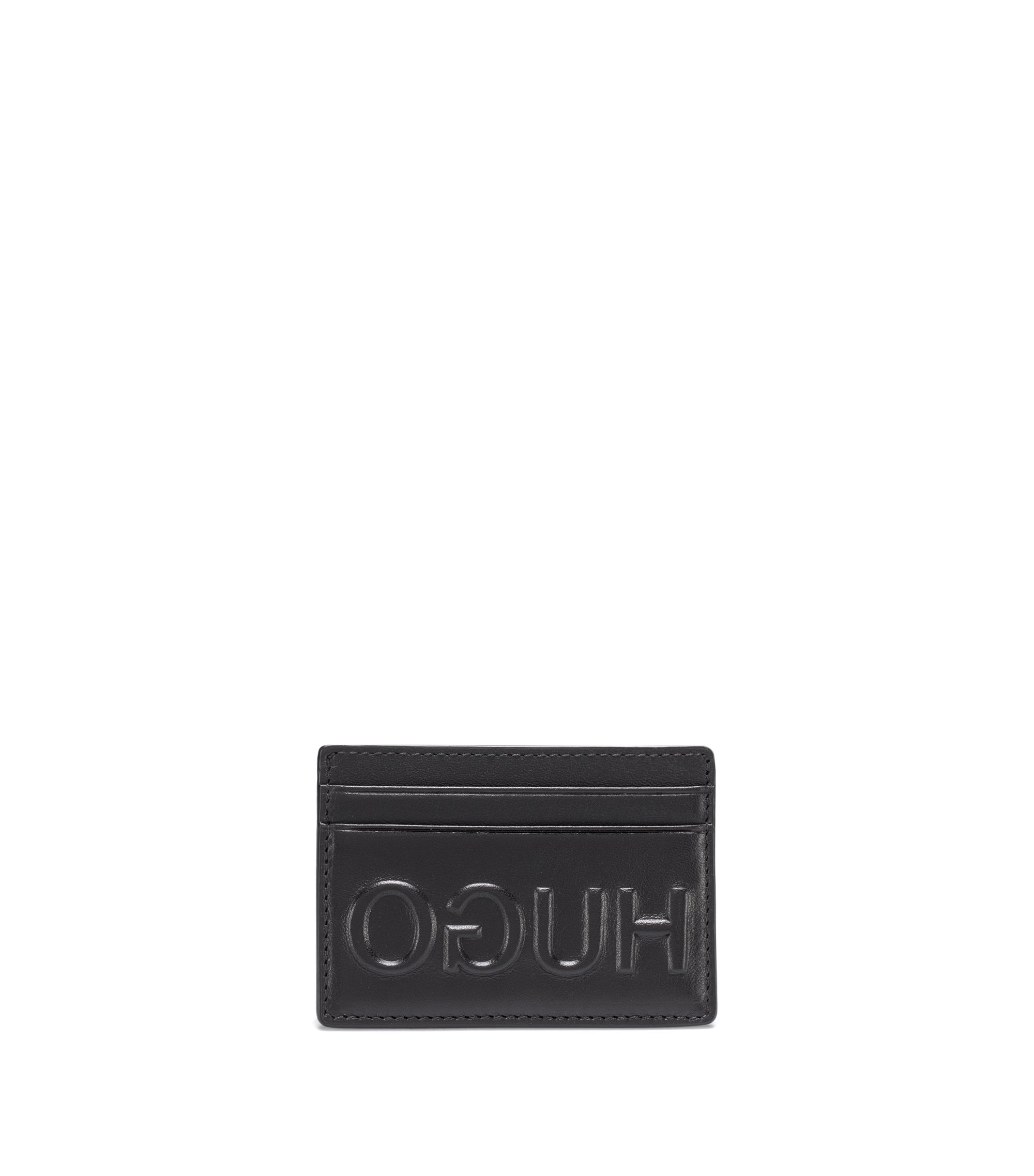 Reverse-logo card case in Italian leather, Black