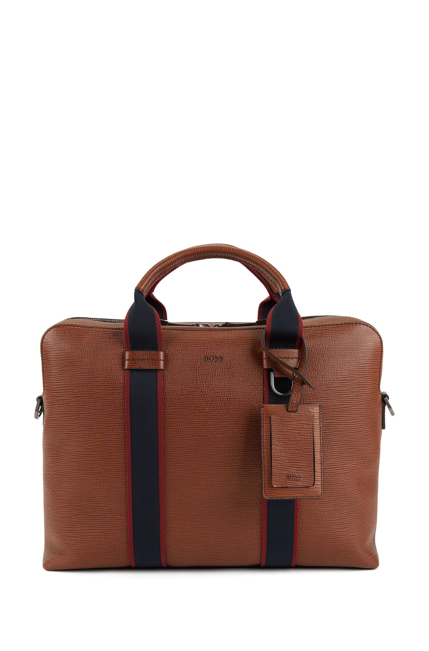 Printed Italian calf-leather document case with webbing details, Brown