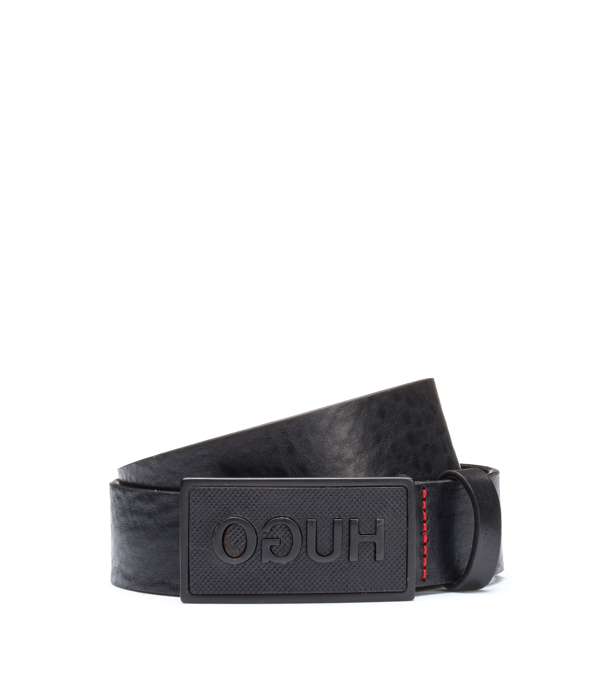 Leather belt with matt-black plaque buckle, Black