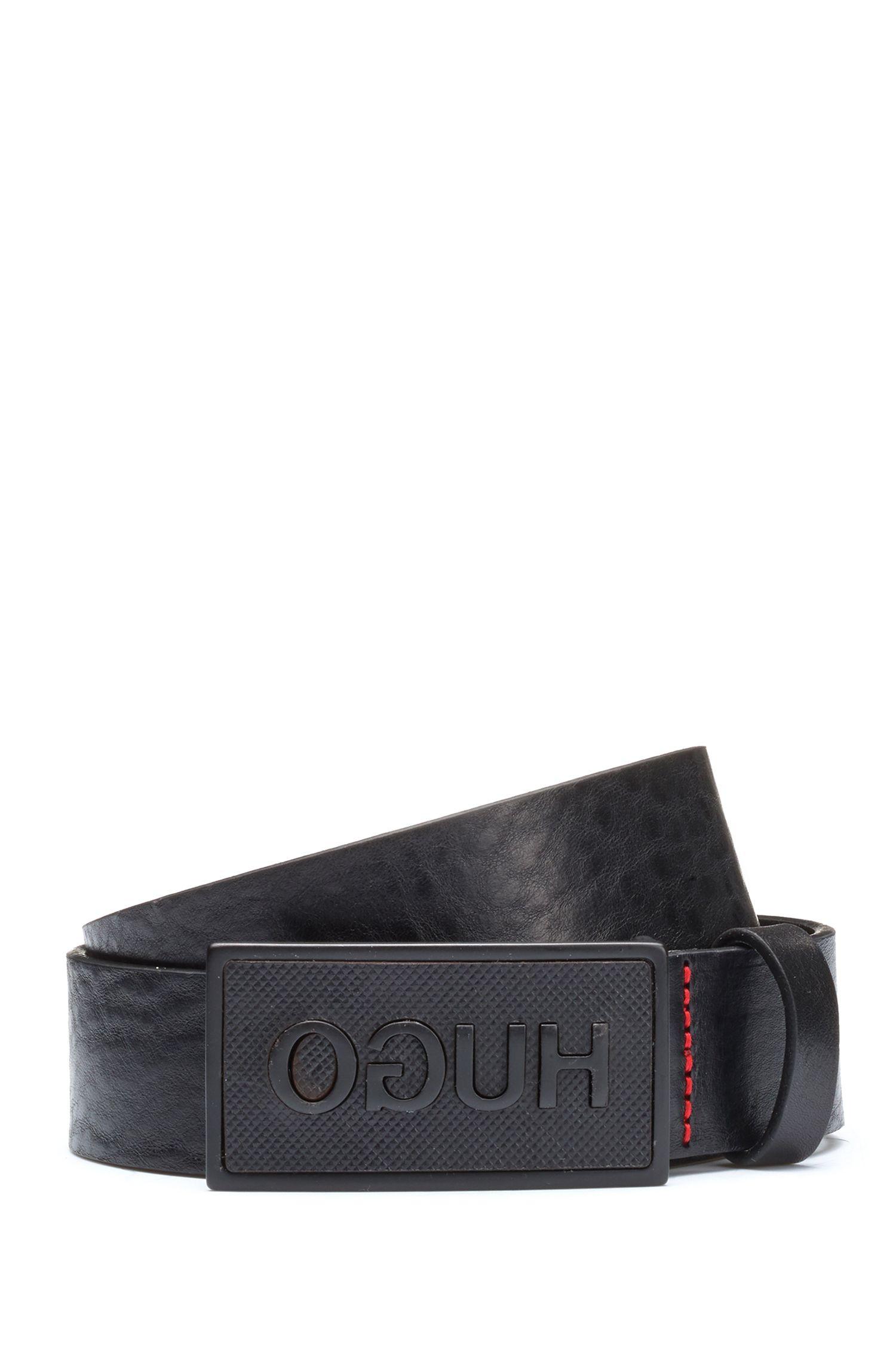 Cinturón de piel con hebilla con placa en negro mate, Negro