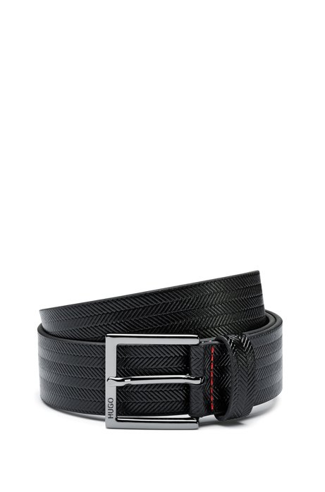 Pin-buckle belt in leather with herringbone print, Black